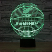 NBA 3D Basketball miami heat/houston rockets/toronto raptors/new york knicks Team Illusion Lamp LED 7color changing Night light(China)