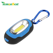 LemonBest COB LED Flashlight Light 3-Mode Mini Lamp Key Chain Ring Keychain PVC Lamp Torch Keyring Green/Red/Yellow/Blue(China)