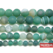 "Free Shipping 15"" Natural Stone Frost Grind Arenaceous Green Stripe Agates Onyx Round Loose Beads 6 8 10 MM Pick Size(China)"