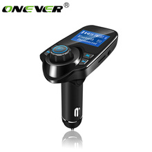 Onever FM Transmitter Bluetooth FM Modulator Audio Car Mp3 Player Handsfree Car Kit W TF Card Slot and 2 USB Charger LCD Display