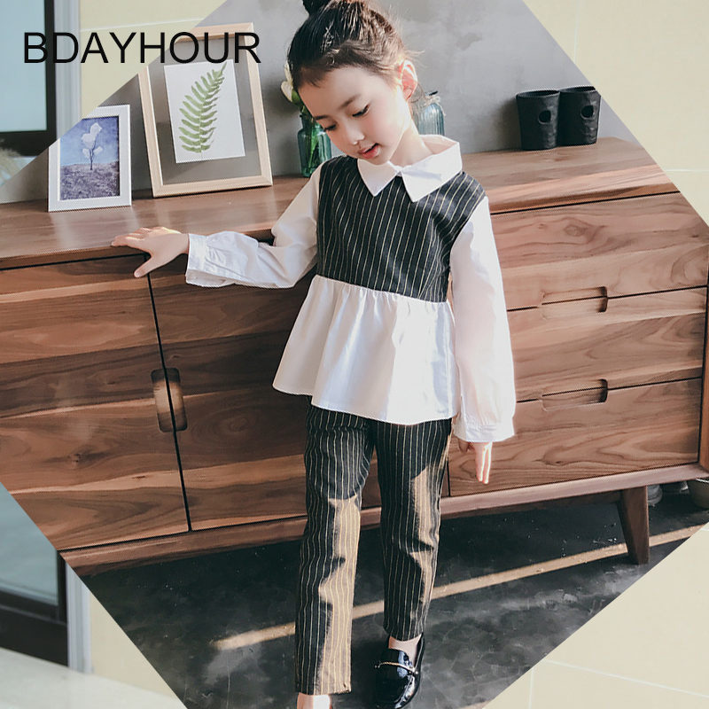 Long Sleeve Lapel Collage Girl Striped Casual Pants + Shirts Two-Piece2017Spring New Korean Style Fashion Retro Girls Sets 5-15Y<br><br>Aliexpress