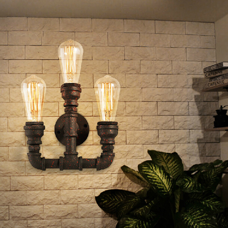Vintage Style Industrial Edison Bulbs Black&amp;Rust Trident Metal Water Pipe Wall lamp Bar Cafe Lighting Restaurant Coffee Shop<br><br>Aliexpress