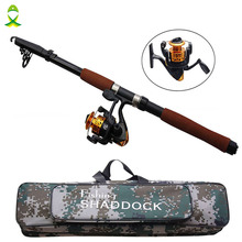 JSM 2.4m Fiberglass Telescope Baitcasting Fishing Rod And Reel Fly Fishing Casting Spinning Fishing Rod And Waterproof Bag Combo(China)