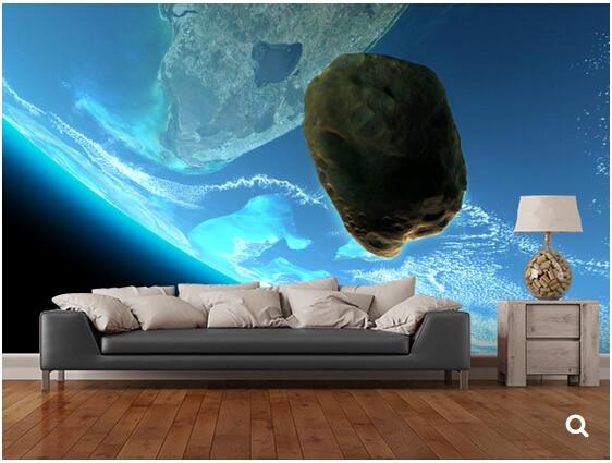 Custom universe wallpaper,Meteor tumbling towards earth,3D photo murals for living room bedroom backdrop waterproof wallpaper<br>