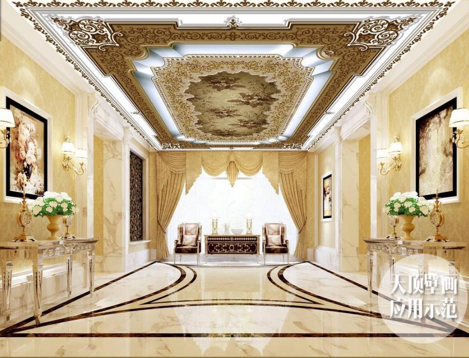 3D Ceiling Customize Euporean Pattern 3D Mural Wallpaper Relief Wallpaper Modern 3D Ceiling Wallpaper<br>