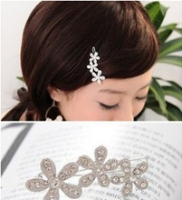 TS089 mix wholesale 2017 New Arrival Korea Rhinestone plum velvet with small hairpin sunflowers bow side clip hair accessories