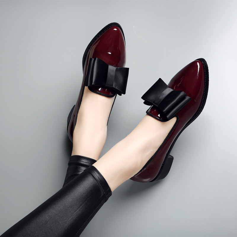 High quality patent leather wine red women causal pointed toe bow knot ladies flat loafer shoes plus big size 9.5 1653W<br><br>Aliexpress