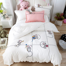 Svetanya mouse Embroidered Luxury Bedding Sets Queen King Size Bedclothes 100% Cotton Brand Duvet Cover Set