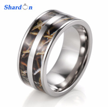 SHARDON Fashion Jewelry Men's 9mm Titanium Double Real tree Max-4 Camo Engagement Ring Camo wedding band for wholesale(China)