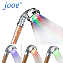 jooe led light shower heads spa Negative ion douche Temperature sensor 3 Colors round abs Showers Filter bathroom accessories(China)