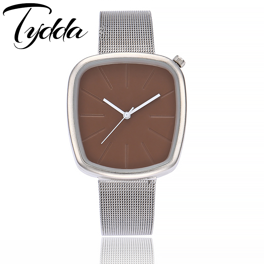 Tydda Brand Fashion Silver Mesh Band Simple Pebble Wristwatches Casual Male Female Clock Women Ladies Dress Watch With Gift Box