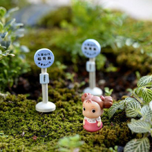 1Piece Bus Stop Sign 4.5CM Japanese Style Miniatures Micro Landscape Model Table Pots Mini Ornaments Garden Decor Crafts