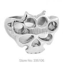 Free shipping! Silver Boxing Glove Skull Ring Classic Stainless Steel Jewelry Knuckles Motor Biker Ring Men Women Ring SWR0417
