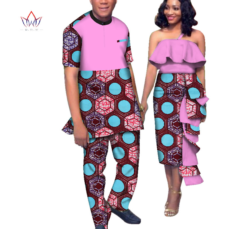 Africa Style Couples Clothing for Sweet Lovers 2019 Bazin Women Dress & Mens Sets Dashiki Plus Size Wedding Clothing WYQ163