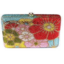 Fashion Woman Bag UK for Sale New Floral Crystal Evening Clutch Bag for Lady Mini Square Box Clutch Bag Free Shipping UK