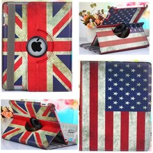 Cover For Ipad Air Case Tablet Cover For Ipad Air 1 Case 360 Degree Rotating Stand UK/US Flag Flower Retro PU Leather For Ipad 5(China)