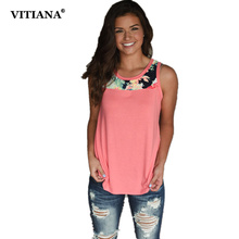 VITIANA Women Summer Sleeveless Tops O Neck White Pink Colorful Print Casual Shirt 2017 Ladies Plus Size S-3XL Tees Cute T Shirt