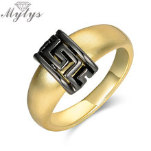 Mytys Fashion Black Greek Key Gold Color Metal Ring for Women and Man Unisex Rings Fashion Jewelry Gift for Lover R1905(China)