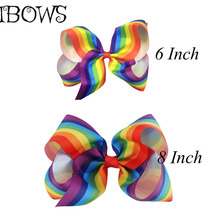 1PC 6Inch or 8 Inch Fashion Big Rainbow Striped Grosgrains Hair Bow With Alligator Clips For Girls Hair Accessories