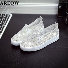 Buy 2017 spring summer fashion new flat casual shoes sequins breathable students sandals lazy flat shoes for $11.41 in AliExpress store