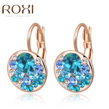 2017 ROXI Sexy Women Stud Earrings Rose/White Gold Color Mysterious Blue Crystal Earrings Fashion jewelry Mother's Gift Birthday