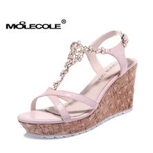 MOOLECOLE Girlfriend Gift Ladies Pumps Women Latest Sandals Woman Lady Casual Sweet Shoes Heel 8.5CM Size EUR35-39 Model 70120(China)