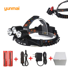 5 Led Red Laser 8000Lm XML T6+2Q5+2LED Headlight Headlamp Head Lamp Torch+2x18650 Battery+EU/US/UK/AU charger fishing Light