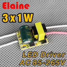 5pcs/lot  3X1w led driver 85-265V power 1w 2w 3w Christmas power driver for E27 GU10 E14 LED Lighting Transformer free shipping
