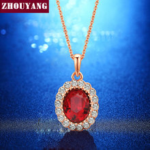 Elegant Rose Gold Color Created Red Crystal Red Crystal Pendant Necklace CZ For Women Wedding Party Top Quality Wholesale ZYN308(China)