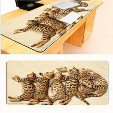 Mairuige Leopard Cat Hot Gaming Animal Mouse Pad 700*300*2mm Locking Edge Mouse Mat Speed Version Table Mat Thick 2mm Durable(China)