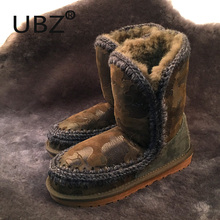 Free shipping Japanese brand boots Genuine leather sheepskin snow boots casual shoes women winter boots fur direct shipments