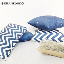 Mediterranean Style Blue Cushion Covers Square 2 sides Print 100% Cotton Canvas Cushion Cases for Seat Chair Sofa SMC1720T-FB
