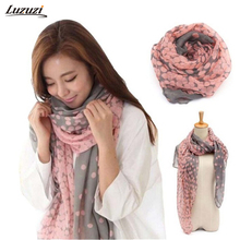 1PC Fashion Dots Scarf Women Large Long Voile Scarves Shawls Wraps Foulard Femme 165*80cm Z503(Hong Kong)
