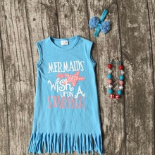 baby girls clothes kids wear summer skyblue fringe mermaid wish upon a starfish print dress cotton mtaching accessories boutique