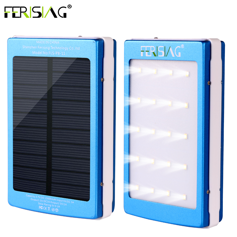 Solar Power Bank Real 15600mAh Dual USB Waterproof...