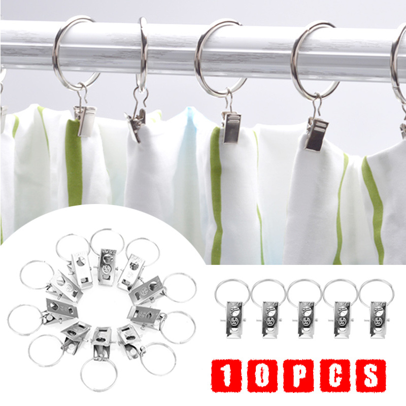 Home Improvement Superior Quality12pcs Shower Bath Bathroom Curtain Rings Clip Pinch Clasp Closure Design Easy Glide Hooks Chrome Plated Stylish Bath Hardware Sets