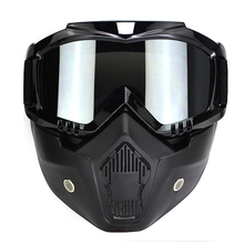New Arrival Motocross Goggles Detachable Mask Mouth Filter For Open Face Vintage Motorcycle Half Helmet(China)