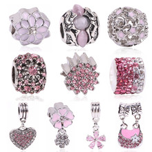 Ranqin Charm Beads Pink Silver Color Bead Fit Pandora Original Bracelet Women Jewelry DIY Making Gift Luxury Women Jewelry