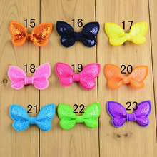 "20pcs/lot 2"" neon embroidered sequin bows hair bows for girl hair accessories headband bow NEON Pink Green Purple Blue"