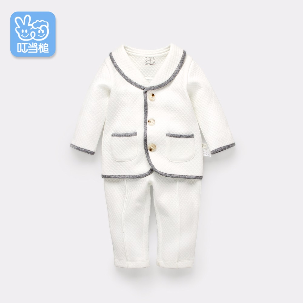 Dinstry Spring and autumn new arrival baby clothes baby boy and baby girl keep warm suit long sleeves gentleman two pieces <br>
