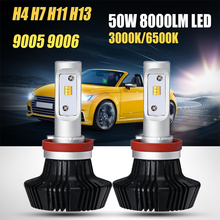 Oslamp H4 H13 Hi-Lo Beam H7 H11 9005 9006 Single Beam 50W LED Car Headlight Bulb Fog Light Lamps Yellow White Light 3000K 6500K(China)