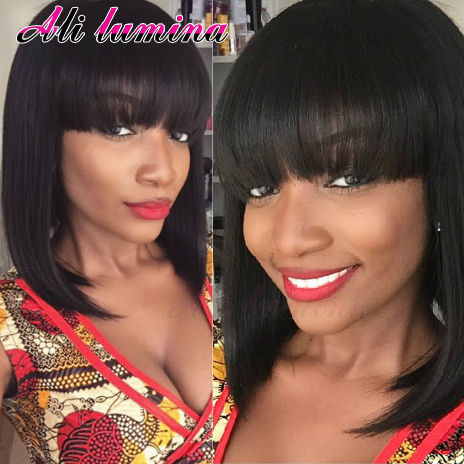 African American Bob Cut Wigs With Bangs Heat Resistant Synthetic Wigs For Black Women Ombre Cheap Wigs For Women<br><br>Aliexpress