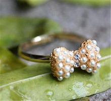 Lovely Cute Simple Imitation Pearl Bow Ring 8RD165