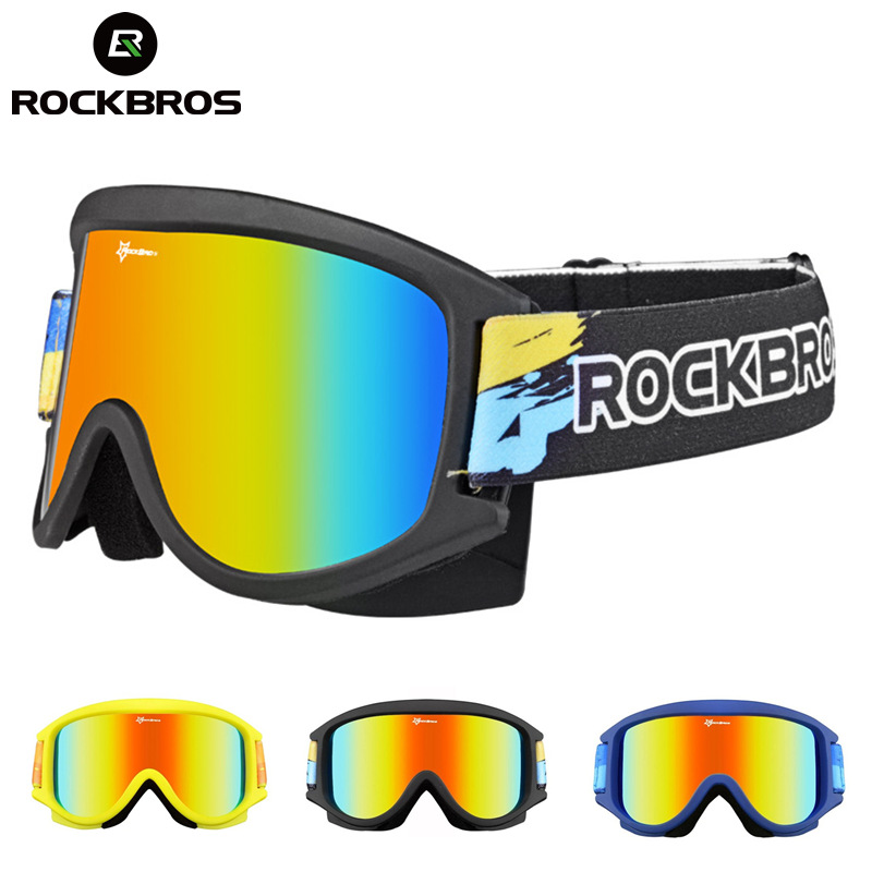 ROCKBROS Skiing Goggles Glasses Snow Double-Layer Snowboard Anti-Fog PC Lenses TPU Frame UV  Skiing Eyewear Big mask Men Women<br>
