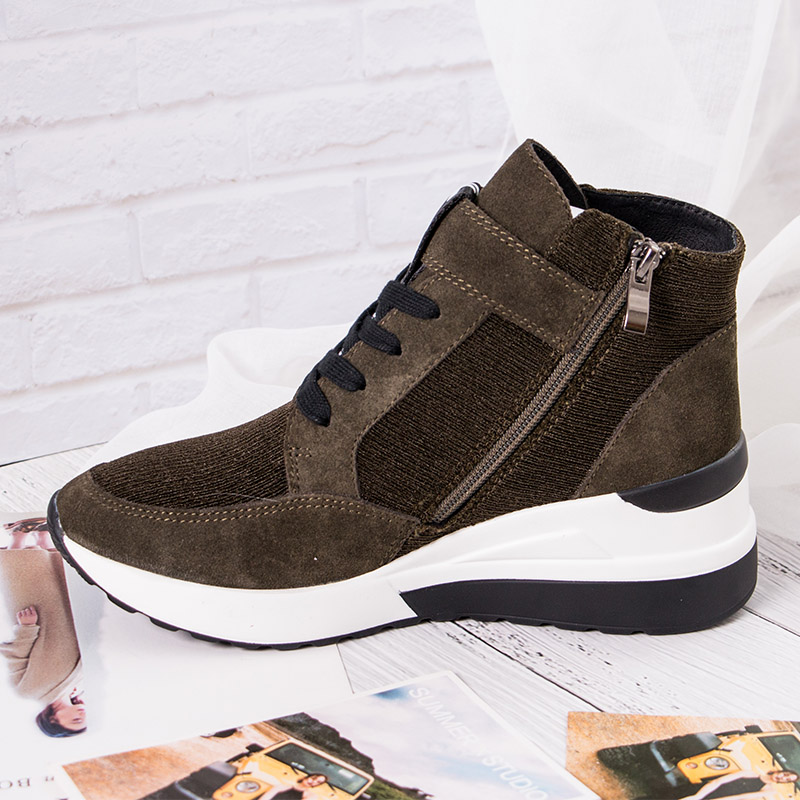 BELISS 2018 spring autumn ankle boots wedges cow suede leather platform hook loop women sneakers (29)99