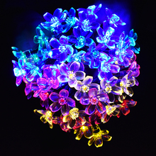 Peach Blossom Flower Solar String Lights 50 LED Christmas Decorative Lighting for Indoor and Outdoor Home Lawn Garden Wedding
