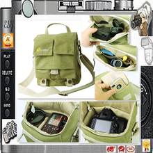 Green S size EIRMAI Canvas Waterproof DSLR shoulder Camera Bag case for one body+one lens PP088
