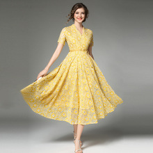 Summer Fashion Boho Long Dresses Lace Robe Long Sleeve Large Swing Hook flowers Rushed High Waist Women Elegant Party Dress 2017