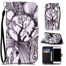 "Buy Cartoon Grey Tree Leather Flip Stand Wallet Holder + Hand Strap Pouch Skin Cover Case Apple iPhone 7 iPhone7 4.7"" Funda Capa for $3.69 in AliExpress store"