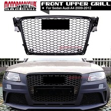 RS Style Honeycomb Type Mesh ABS Front Gloss Black Grill Grille Cover Protector With Badge Sticker For Audi A4 S4 B8 2009-2012